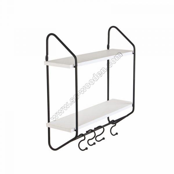 2-Tier Floating Shelf with hooks SS-MO604