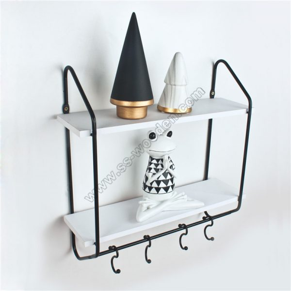 2-Tier Floating Shelf with hooks SS-MO604-D